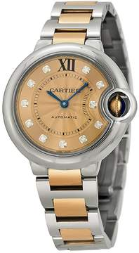 Cartier Ballon Bleu Rose Dial Gold Ladies Watch
