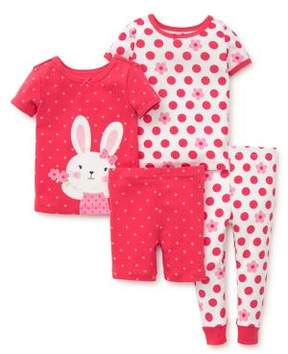 Little Me Baby Girl's Four-Piece Bunny Pajama Set