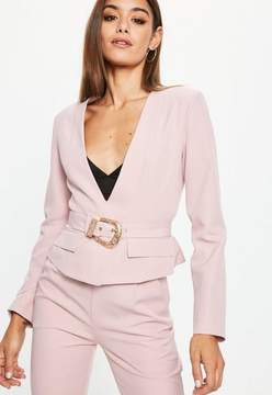 Missguided Pink Cropped Western Belt Blazer