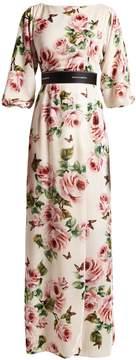Dolce & Gabbana Rose-print velvet gown