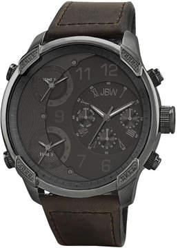 JBW G4 Multi-Time Zone Gunmetal Brown Leather Men's Watch