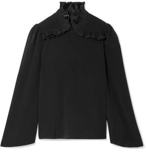 Co Pleated Ruffle-trimmed Crepe De Chine Blouse - Black