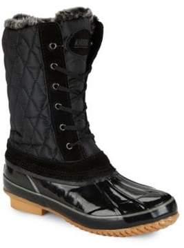 Khombu Bridget Faux Fur-Trimmed Duck Boots