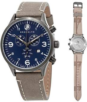 Co Brooklyn Watch Bedford Brownstone Chronograph Blue Dial Men's Watch