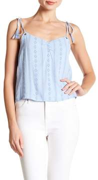 Lush Embroidered Eyelet Tie Strap Tank Top