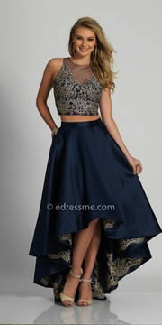 Dave and Johnny Embroidered Two Piece High Low Prom Dress