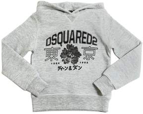 DSQUARED2 Logo Print Hooded Cotton Sweatshirt