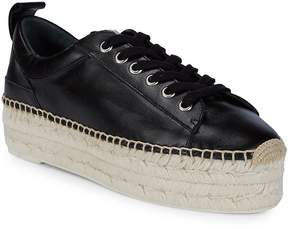 McQ Women's Lace-Up Leather Flatform Espadrilles