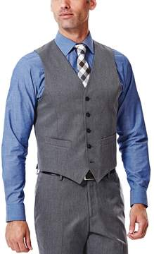 Haggar Men's Straight-Fit Gabardine Heather Dark Gray Suit Vest