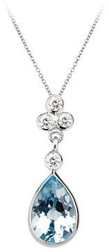 Aspinal of London Aphrodite Teardrop Aquamarine Diamond Pendant Necklace