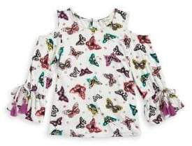 Jessica Simpson Girl's Printed Cold-Shoulder Bell-Sleeve Top