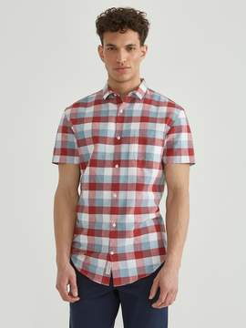 Frank and Oak Checkered Short Sleeve Linen Blend Shirt in Red