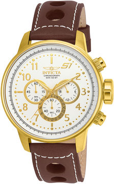 Invicta S1 Rally Mens Dark Brown Leather Chronograph Sport Watch 16011