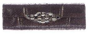 Carlos Falchi Metallic Snakeskin Clutch