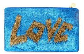 Forest of Chintz Love Zip-Up Sequin Clutch- Blue And Gold