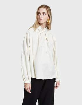 Black Crane Balloon Sleeve Blouse in Cream