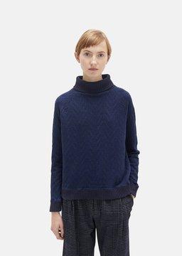 Blue Blue Japan Rope Jacquard Turtleneck Sweater Navy Size: Medium
