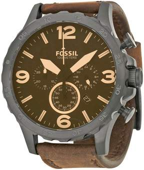 Fossil Nate Chronograph Brown Dial Brown Leather Men's Watch