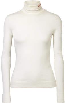 Calvin Klein Embroidered Cotton-jersey Turtleneck Top - White