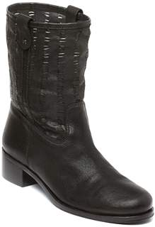 Delman Merci Woven Leather Booties.