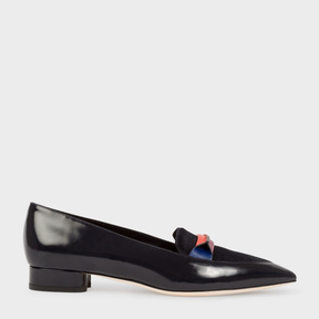 Paul Smith Women's Navy Leather And Calf Hair 'Bree' Loafers