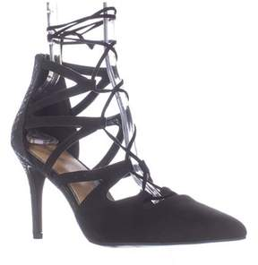 Rampage Sleepless Lace Up Pointed Toe Dress Pumps, Black.