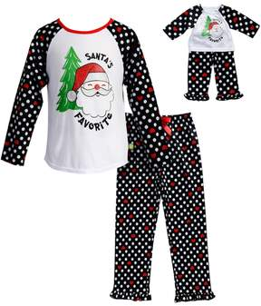 Dollie & Me Girls 4-14 Santa's Favorite Santa Top & Bottoms Pajama Set