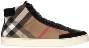 Check Canvas & Leather High Top Sneakers