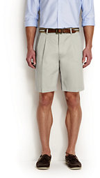 Lands' End Men's Big & Tall No Iron 9 Pleat Front Comfort Waist Chino Shorts-Steeple Gray