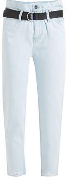 IRO Aven Cropped Distressed High-rise Slim-leg Jeans - Light denim