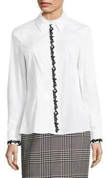 Escada Norreysa Lace-Trim Poplin Shirt