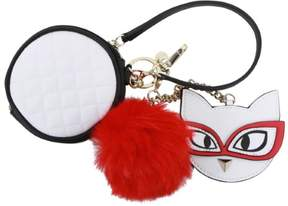 GUESS Women's Clare Meow Pom-Pom Keychain Gifting White Pouch Handbag