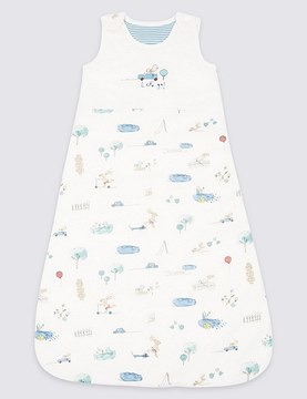 Marks and Spencer Pure Cotton 2.1 Tog Rabbit All Over Print Sleeping Bag