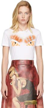 Fendi White and Orange Fur Bag Bugs T-Shirt