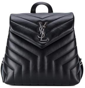 Saint Laurent Small Monogram Leather Backpack - BLACK - STYLE