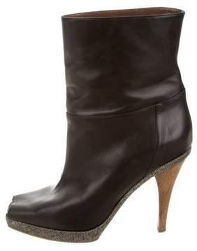 Marni Leather Peep-Toe Ankle Boots