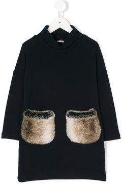 Il Gufo fur pockets dress