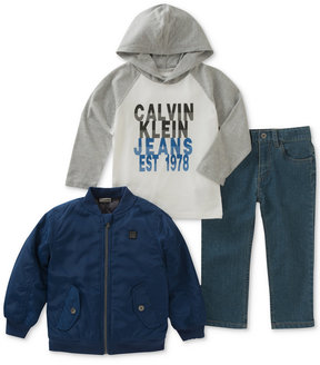 Calvin Klein 3-Pc. Graphic-Print Hooded Shirt, Jacket & Pants Set, Little Boys (4-7)