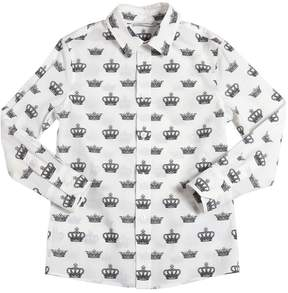 Dolce & Gabbana Crowns Printed Cotton Poplin Shirt
