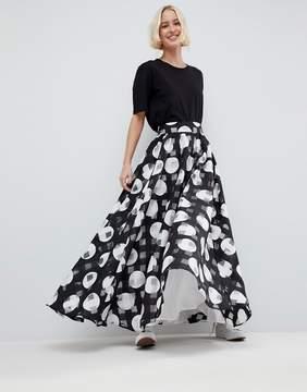 Asos Stripe And Spot Full Maxi Skirt