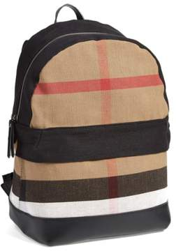 Burberry Check Print Canvas Backpack - Black