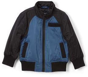 Urban Republic Teal & Black Embroidered Bomber Jacket - Boys