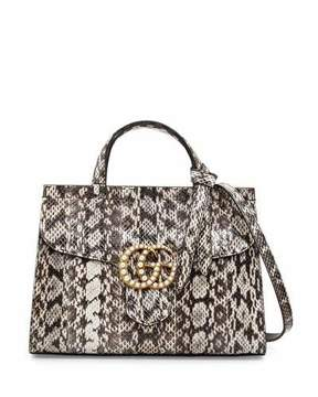 Gucci GG Marmont Small Pearly Snakeskin Top-Handle Satchel Bag, Natural - NATURAL - STYLE