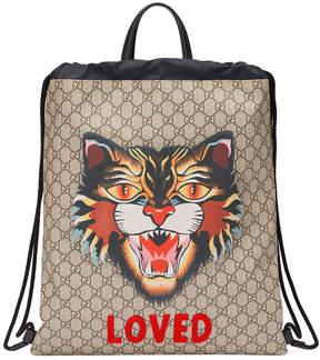 Gucci Angry Cat print soft GG Supreme drawstring backpack