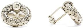 Bottega Veneta Intrecciato-engraved oxidised-silver cufflinks