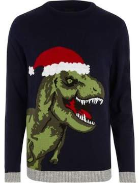 River Island Mens Navy T-rex knit Christmas sweater
