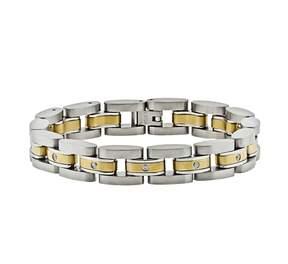 Lynx Stainless Steel Two Tone 1/10-ct. T.W. Diamond Bracelet - Men