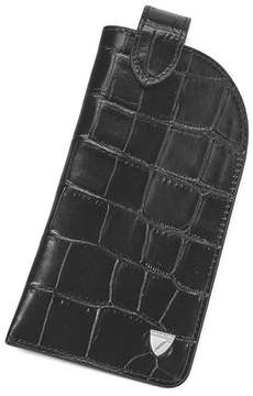 Aspinal of London Slimline Glasses Case In Deep Shine Black Croc Silver Suede