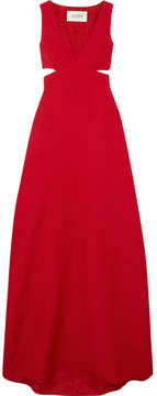 Valentino Cutout Wool And Silk-blend Gown - Red