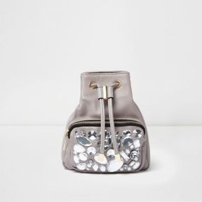 River Island Womens Grey gem embellished mini backpack